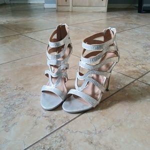 Shoe Dazzle Jasmeen Silver Strappy Heels Size 8